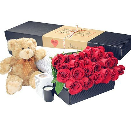 24 Long Stem Red Roses and Love Bear (Sydney Melbourne Perth Only)