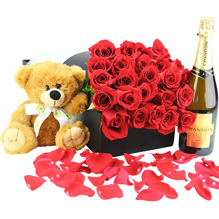 24 Red Roses with Bear & Bubbly (Sydney Melbourne Perth and Brisbane delivery Only)