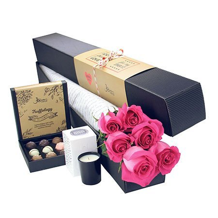 6 Long Stem Pink Roses and Chocolate (Sydney Only)