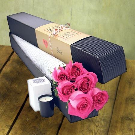 Six Long Stem Pink Roses (Sydney Only)