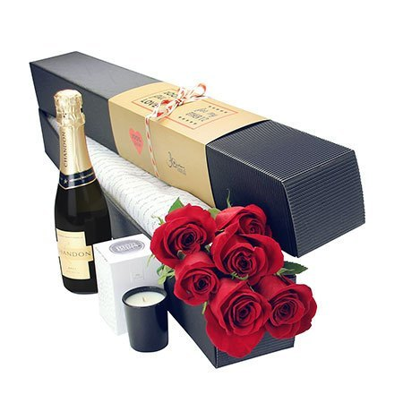 6 Long Stem Red Roses and Bubbly (Sydney Only)