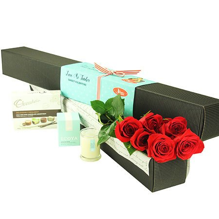 6 Long Stem Red Roses with Chocolate (Sydney Melbourne Perth Only)