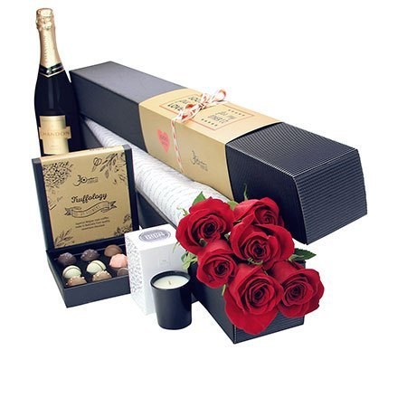 6 Long Stem Red Roses with Chocolate and Bubbly (Sydney Melbourne Perth Only)