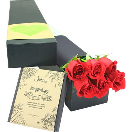 Chocolate with red roses