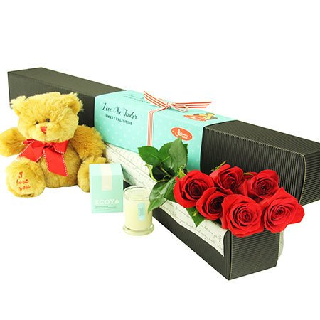 6 Long Stem Red Roses with Love Bear (Sydney Only)