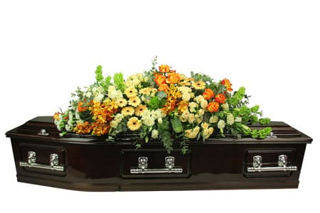 Apricot Dream Casket Flowers