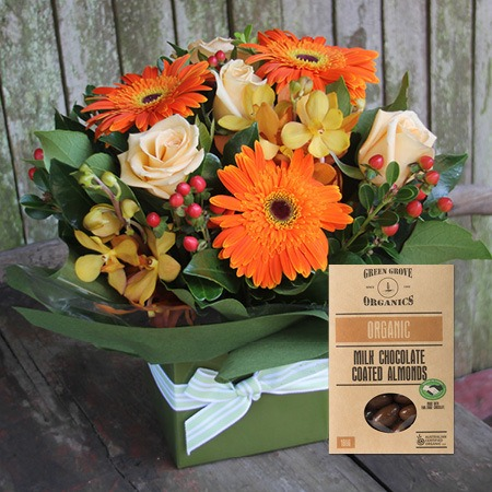 Autumn Blooms with Choc Coated Almonds (Sydney Only)