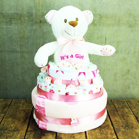 Baby Bear Nappy Cake (Pink or Blue)