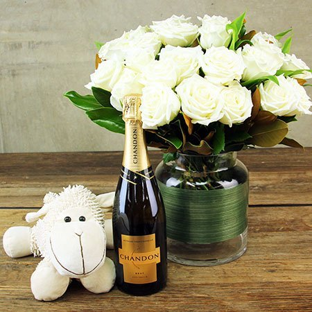White Roses with Treats for Mum & Bub