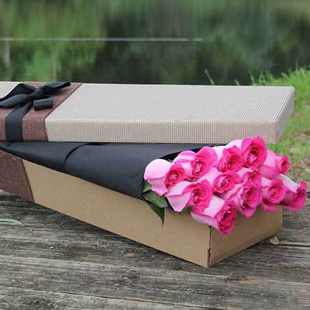 Pink Roses in a White Gift Box