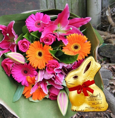 Bright Easter Bouquet & Chocolate Bunny