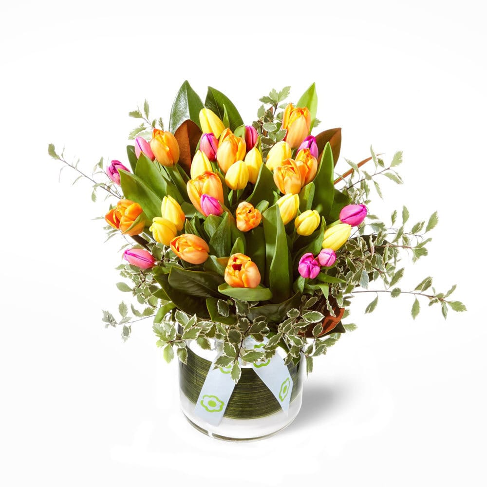 Bright Mixed Vase of Tulips Delivered