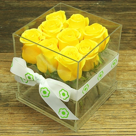 Bright Yellow Rose Cube Flowers Delivered Sydney
