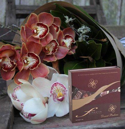 Chocolate Cream Orchids and Praline
