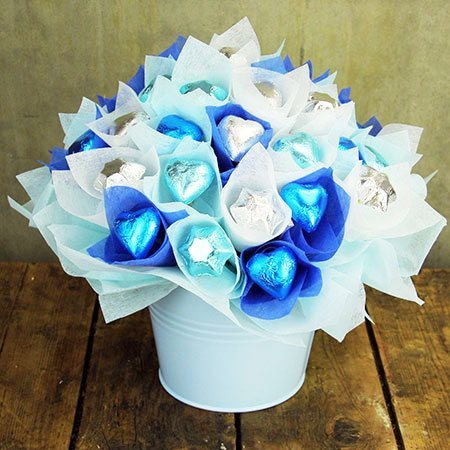 Edible Chocolate in Tin Pail Blue
