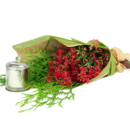 Christmas Bush Bouquet with Candle Delivered in Sydney