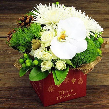 Classic Xmas Flower Box with Free Xmas Candle (Sydney Only)
