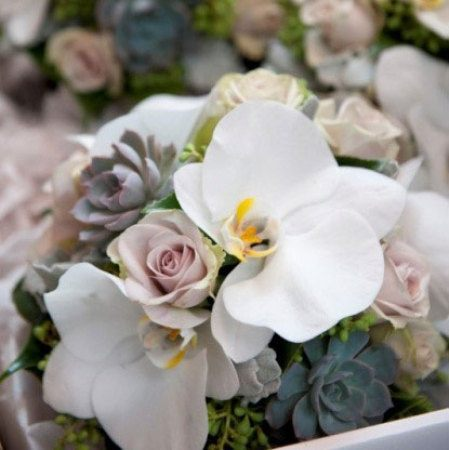 Small Clustered Bouquet with Orchids & Succulents
