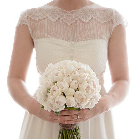 Medium Clustered Bouquet with White David Austin Roses