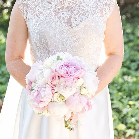 Large Clustered Bridal Bouquet with Pink & White Peonies