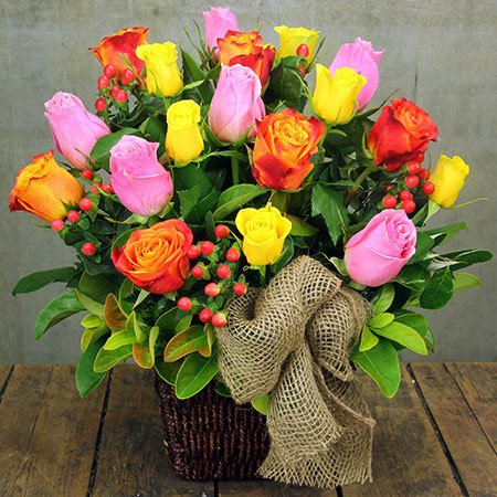 Colourful Rose Basket