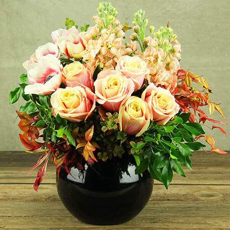 Contemporary Peach Bowl of Premium Flowers Delivered Sydney