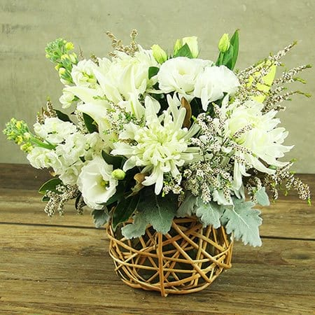 Creamy White Flower Basket Delivered Sydney