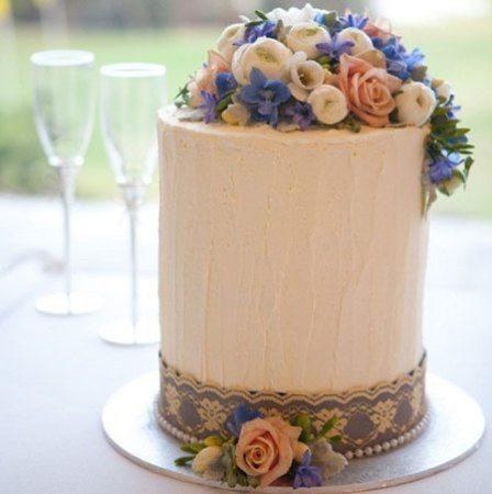 Cylinder Cake (Medium) with Seasonal Flowers & Blue Satin Lace Overlay Ribbon