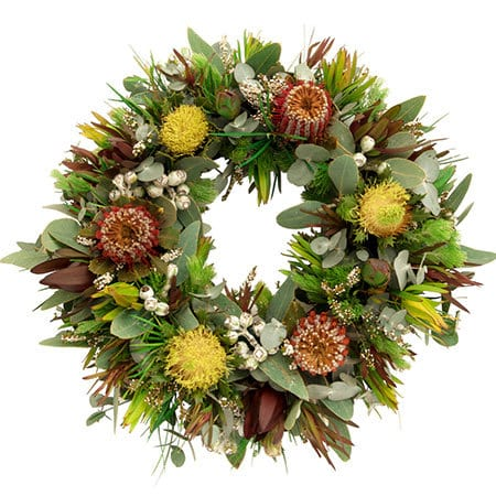 Earthy Native Funeral Wreath Delivered Sydney