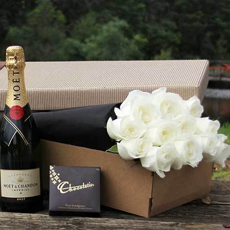 Exquisite White Roses, Sparkling Wine & Chocolate