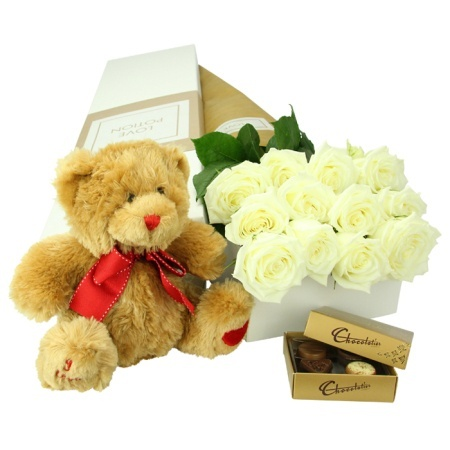 Exquisite White Roses Teddy & Chocolate