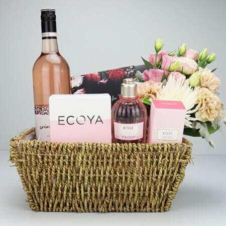 Floral Pamper and Rose Wine Gift Basket
