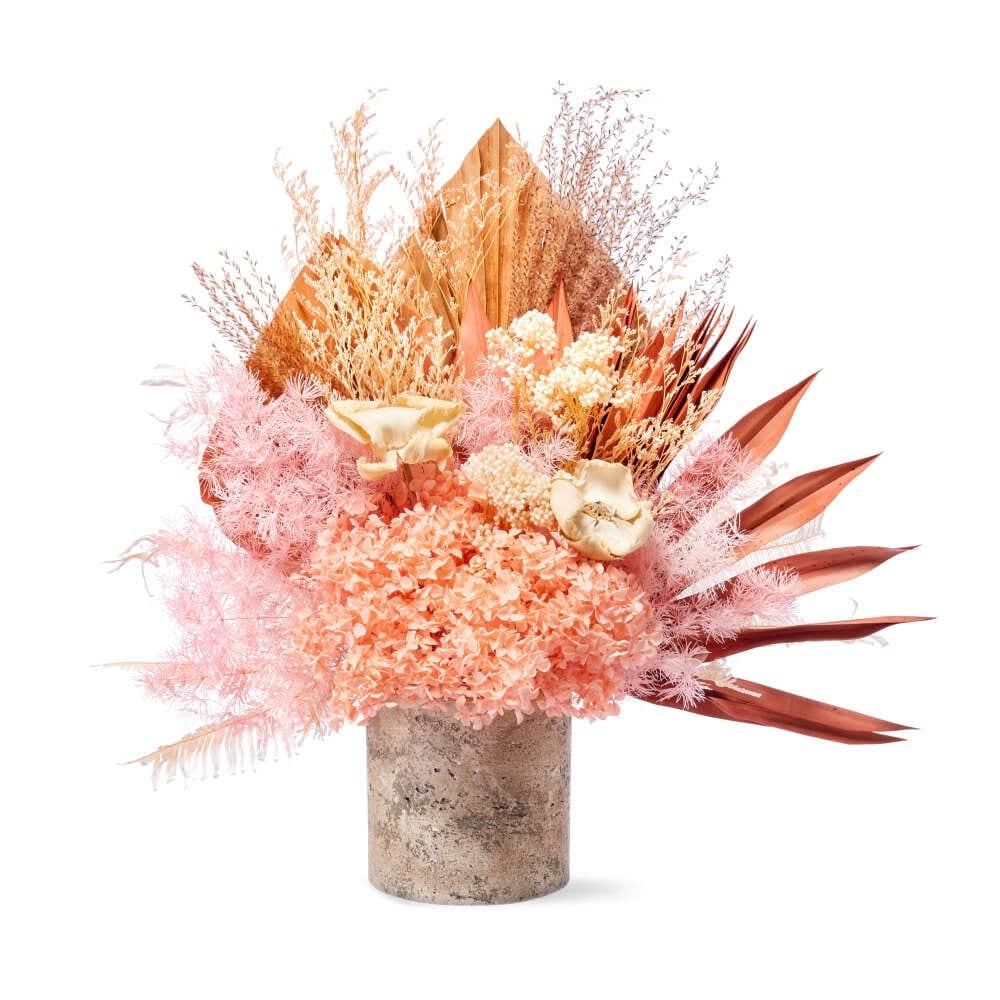 Preserved pink flowers in pot delivered Sydney