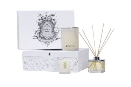 French Pear Ecoya Gift Box: Madison Candle, Reed Diffuser & Mini Metro Candle