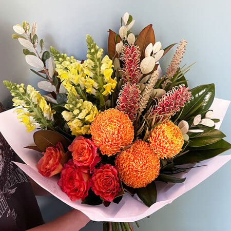 Bright Yellow and Orange Bouquet with Chrysanthemums and Roses