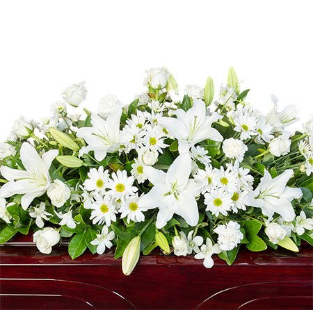 Funeral Casket Flowers - Mixed White