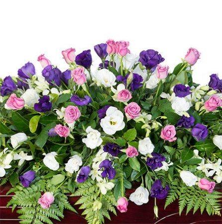 Funeral Casket Flowers - Pink, Purple & White