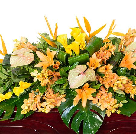 Funeral Casket Flowers - Tropical Citrus