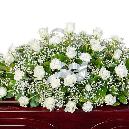 Funeral Casket Flowers - White Roses & Babies Breath