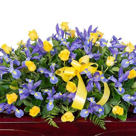 Funeral Casket Flowers - Yellow & Purple