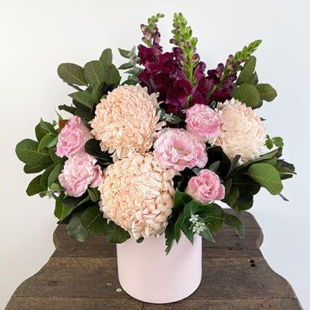 Gentle Mumma flower arrangement with giant pink chrysanthemums