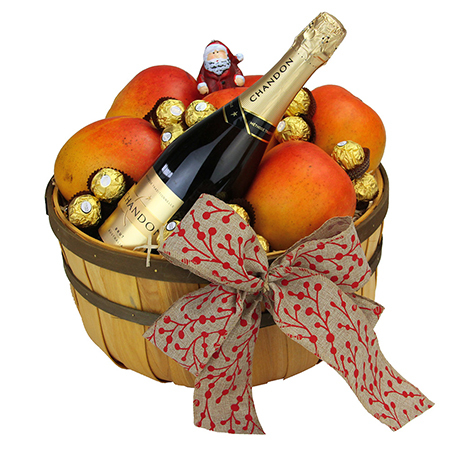 Xmas Gift Hamper Delivered in Sydney Featuring Fresh Mangos, Sparkling Wine & Chocolate