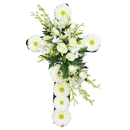 Heavenly White Funeral Cross Delivered Sydney