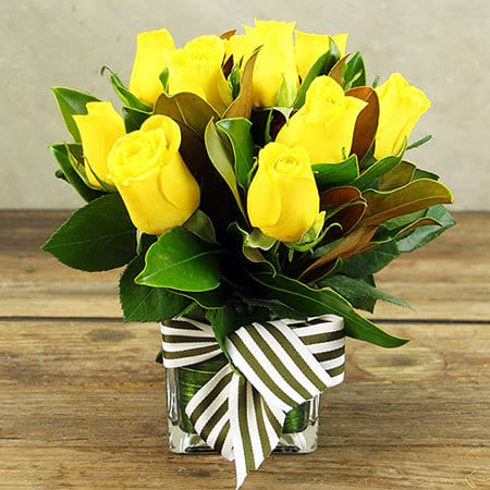 Hello Sunshine Yellow Roses in Vase Delivered