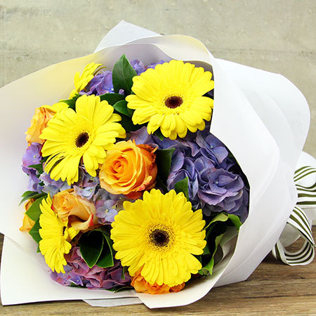 Hydrangea Sunshine Bouquet with Roses and Bright Gerberas Delivered