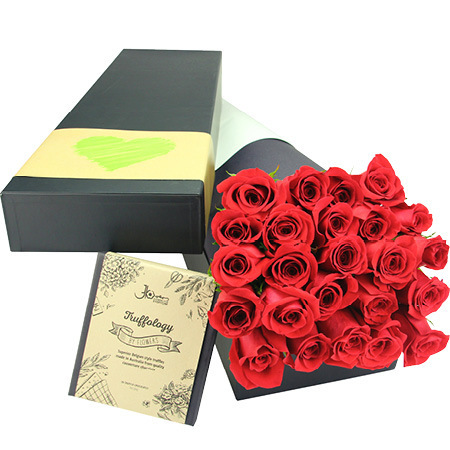 Indulgent roses with chocolate