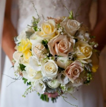 Medium Semi Loose Bridal Bouquet with Lilly of the Valley
