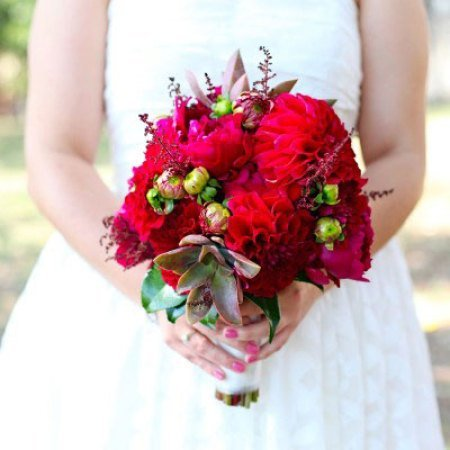 Medium Loose Bridal Bouquet with Red Dahlias & Cerise Peonies
