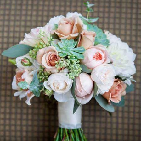 loose bridal bouquet with white peach david austin roses. Black Bedroom Furniture Sets. Home Design Ideas