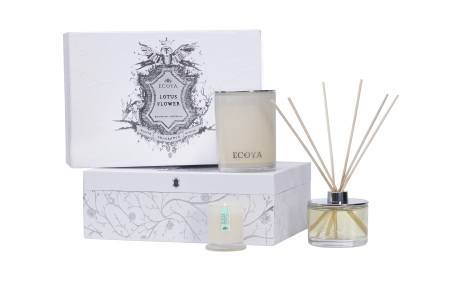 Lotus Flower Ecoya Xmas Gift Box: Madison Candle, Reed Diffuser & Mini Metro Candle